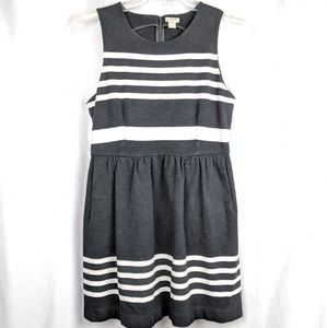 J. Crew Black & White Cotton Dress with Pockets S